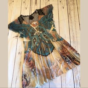 Boston Proper Top XS Multicolored Boho Style #336